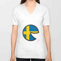 sweden V-neck T-shirts featuring Sweden Smile by onejyoo