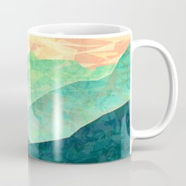 Spring Sunset over Emerald Mountain Landscape Painting Coffee Mug