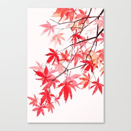 red orange maple leaves watercolor painting 2 Canvas Print