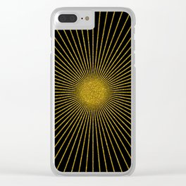 Gold glitter sun rays, gold glitter, gold black abstract geometric, gold sparkles Clear iPhone Case