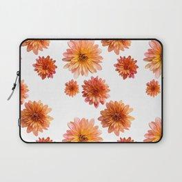 Coral Mum Floral Pattern - Scattered Flowers - Chrysanthemum Bloom Pattern - Real Flowers Laptop Sleeve