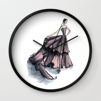 givenchy Wall Clocks featuring Audrey Hepburn in Pink dress vintage fashion by Notsniw