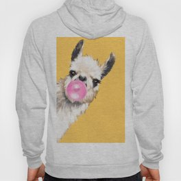 Bubble Gum Sneaky Llama in Yellow Hoodie