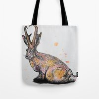 jackalope Tote Bags featuring Jackalope by Joseph Kennelty