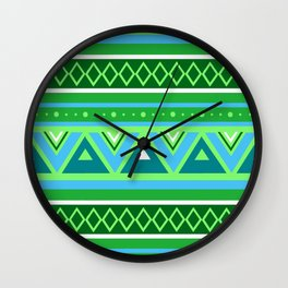 Modern Southwestern Geometric, Green and Aqua Wall Clock