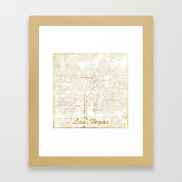 Las Vegas Map Gold Framed Art Print