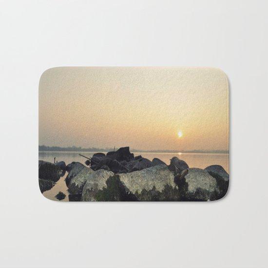 sea stones sunset ### Bath Mat