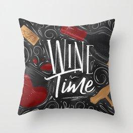 Wine time black Throw Pillow