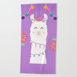 Happy Boho Llama with Pompoms in Purple Beach Towel