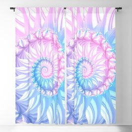 Striped Pastel Spiral in Pink, Blue and Purple Blackout Curtain