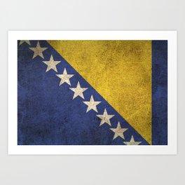 Old and Worn Distressed Vintage Flag of Bosnia - Herzegovina Art Print