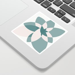 Abstract graphic bloom in teal and pale rose Sticker