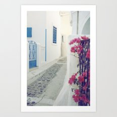 White Santorini Street Art Print