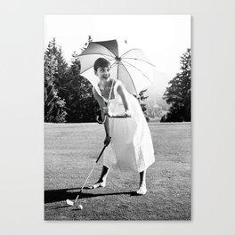 Audrey Hepburn Playing Golf, Black and White Vintage Art Canvas Print