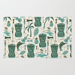 Tropical Tiki - Cream & Aqua Rug
