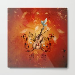 Violin with violin bow and dove Metal Print
