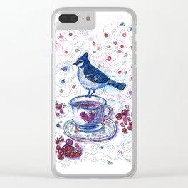 Winter Tea (Ble Jay) Clear iPhone Case