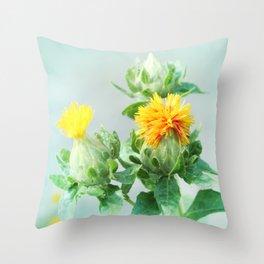 Yellow Safflower (Carthamus Tinctorius Yellow)  Throw Pillow