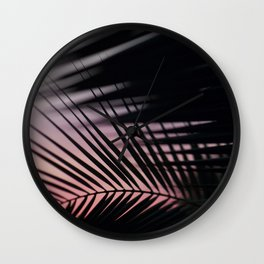 Sunset Palms Pink Wall Clock