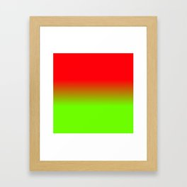 Neon Red and Neon Green Ombré  Shade Color Fade Framed Art Print