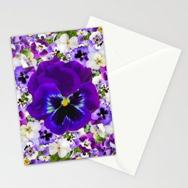 PURPLE & WHITE PANSY GARDEN ART Stationery Cards