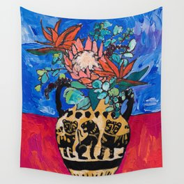 Lions and Tigers Vase with Protea Bouquet Wall Tapestry