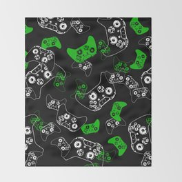 Video Game Black & Green Throw Blanket