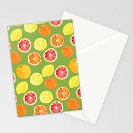 Grapefruit Lemon Orange on Greenery Background Stationery Cards