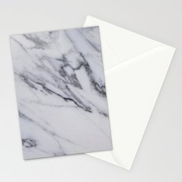 Marble - Black and White Gray Swirled Marble Design Stationery Cards