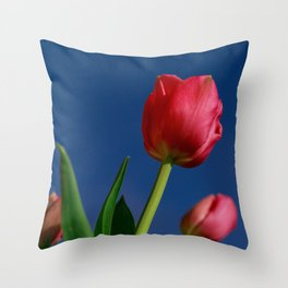 Red Tulips In The Blue Sky Throw Pillow