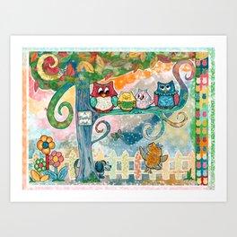 A Family Hoot Art Print