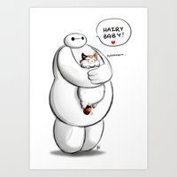 baymax Art Prints featuring Baymax by smudgeandfrank