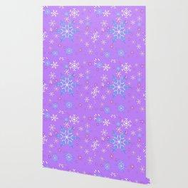 LILAC PURPLE WINTER SNOWFLAKES Wallpaper