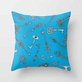 Skeleton Keys Blue Throw Pillow