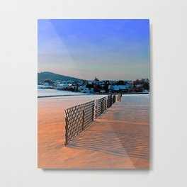 Fences, evening sun and the village | landscape photography Metal Print