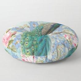 Peacock & Pink Roses #2 Floor Pillow