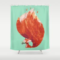 kitsune Shower Curtains featuring Kitsune (Fox of fire) by Picomodi