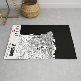 Beirut, LEBANON Road Map Art - Earth Tones Rug