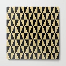 Mid Century Modern Geometric 315 Gold and Black Metal Print