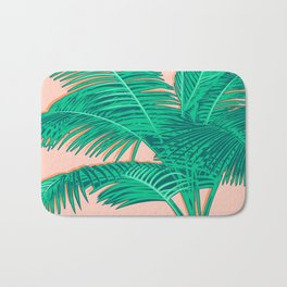 Palm trees on pink Bath Mat
