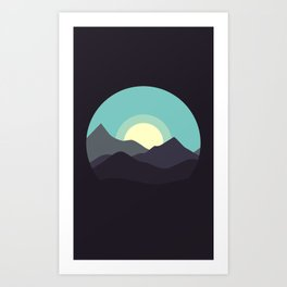 Minimal Mountain Night Art Print
