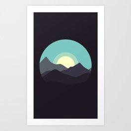 Minimal Mountain Night Art Print