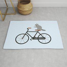 Raccoon Riding Bike Rug