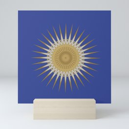 Bright Blue Gold Star Mandala Mini Art Print