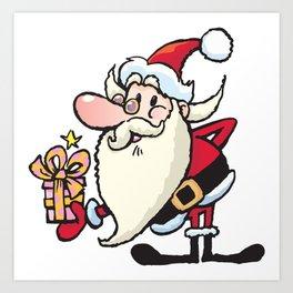 Santa Claus with little present Art Print