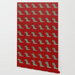 Funny cute tyrannosaurus pattern colorful Wallpaper
