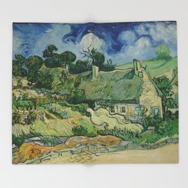 "Vincent van Gogh ""Thatched Cottages at Cordeville"" Throw Blanket"