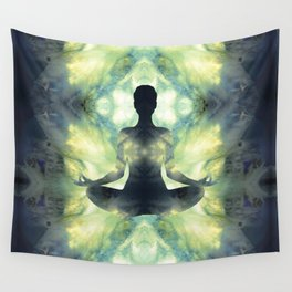 Yoga Asana  in Translucent Agate Wall Tapestry