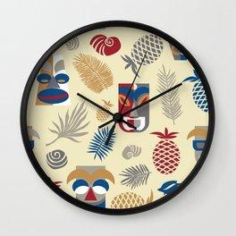 tiki masks light yellow seamless pattern Wall Clock