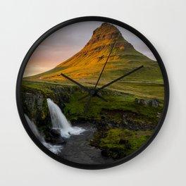 Kirkjufell at Sunset Wall Clock